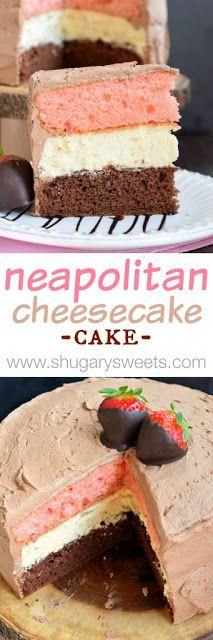 Neapolitan Cheesecake Cake - My Kitchen Recipes