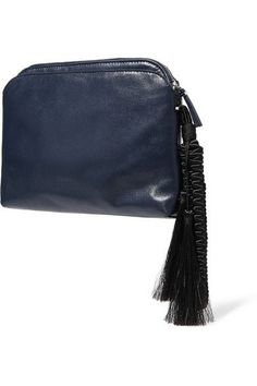 The Row's clutch has been crafted in Italy from supple midnight-blue leather…