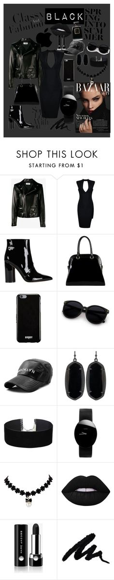"""BLACK"" by luthfiyyah-rachmawati on Polyvore featuring Yves Saint Laurent, Sigerson Morrison, Diophy, Givenchy, Kendra Scott, Miss Selfridge, Rado, Lime Crime and Marc Jacobs"