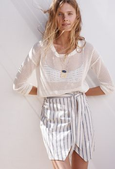madewell portside skirt worn with the threadgrid pullover + geometric necklace.