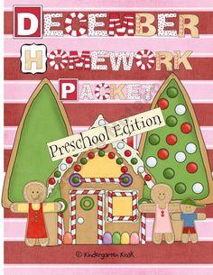 December Homework Packet: Preschool product from Kindergarten-Kiosk on TeachersNotebook.com