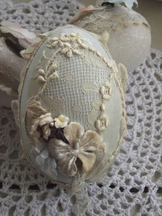 Lacy artificial eggs by littlepinkstudio
