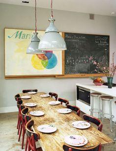 sliding chalkboard, wooden farmhouse table
