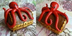 Octopus Keepsake Chest polymer clay covered tin by SomethinSweet