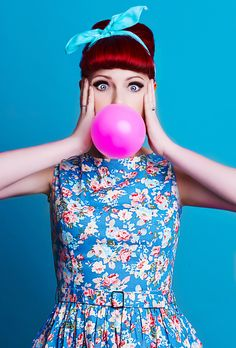 bubble gum pin up with head scarf 1950s vintage flower dress