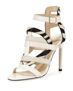 Vanquish+Mixed-Media+Strappy+Sandal,+White+by+Jimmy+Choo+at+Neiman+Marcus.