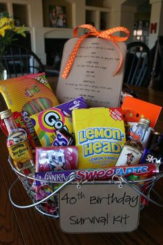 Over the weekend, our family attended a friend's big 4 - 0 birthday celebration. Not wanting to show up empty-handed, I came up with the idea of putting together a survival kit. The only problem . presents ideas Birthday Survival Kit 40th Bday Ideas, 40th Birthday Parties, Man Birthday, Friend Birthday, Birthday Celebration, 40th Birthday Presents, Birthday Wishes, Birthday Nails, Special Birthday