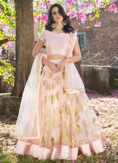 Light Pink and Gold Embroidered Net Lehenga features a dhupioni silk blouse, net lehenga with santoon inner and net dupatta. Embroidery work is completed with zari and stone embellishments.