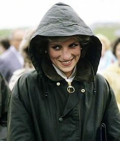 Princess Diana stays warm and dry in her Barbour Bedale.