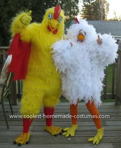 Homemade Chicken Costume: I have made 3 of these costumes now, everybody wants to be a chicken!! My daughter wore this Homemade Chicken Costume and won 3 contests.   I started with
