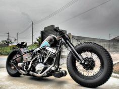 Shovelhead chopper with fatties. Bobber Motorcycle, Bobber Chopper, Cool Motorcycles, Vintage Motorcycles, Bobber Bikes, Vintage Bikes, Bobber Custom, Custom Choppers, Custom Bikes