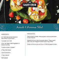 Avocado & Hummus Salad, made with all new Sager Creek Vegetable Company Hummus. #recipe
