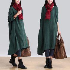 Kvinnor Casual löst sittande Oregelbunden linne långärmad klänning - Buykud