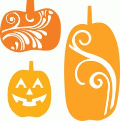 Silhouette Online Store - View Design #49987: 3 decorative pumpkins
