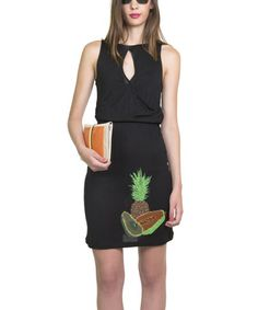 Look at this #zulilyfind! Black Aralia Fruitopia Sleeveless Dress #zulilyfinds