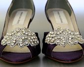 Wedding Shoes -- Eggplant Peep Toe Wedding Shoes with Rhinestone Applique