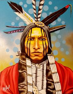 Cheyenne Dog Soldier - Red Blanket ~ by Riel Benn