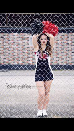Cheerleading Senior Picture not sure of complete fence Cheerleading Senior Pictures, School Cheerleading, Senior Photos Girls, Senior Girl Poses, Senior Girls, Cheerleading Outfits, Senior Session, Cheers Photo, Cheer Poses