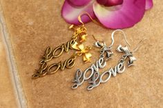 Simple Pure Love Dangle Sliver n Gold  Earrings by tranquilityy, $7.25