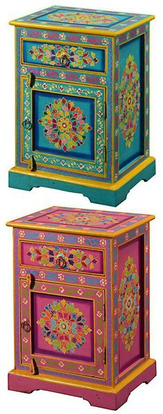 Hand Painted Indian Side Chests w/door and drawer ♥•♥•♥