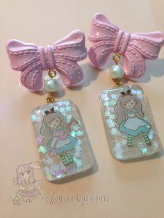 Alice In Wonderland Glitter Resin Pink Bow Dangle by zefora