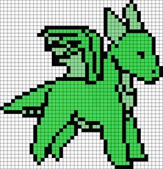 Green Dragon Perler Bead Pattern / Bead Sprite