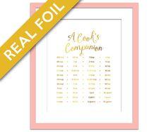 Cooking Measurements Conversions Gold Foil Print - Kitchen Art - Cooking Conversion Chart - Kitchen Decor Art - Cooking Poster - Kitchen Art