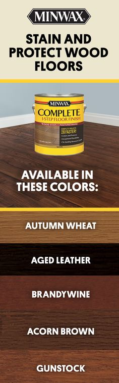 Use Minwax® Complete Floor Finish to stain and protect your wood floors, in one easy step. Floor Stain, Floor Finishes, Hardwood Floor Colors, Hardwood Floors, Sand Floor, Refinish Wood Floors, Sanding Wood, Minwax Stain, Stone Flooring