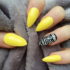 Doobys Ring Finger - Aztec - Yellow Gloss / Gel Look - 24 Hand Painted Nails featuring polyvore, beauty products, nail care, nail treatments, nails, makeup, beauty, nail polish, unhas, manicure and pedicure kit, gel nail care and manicure pedicure kit