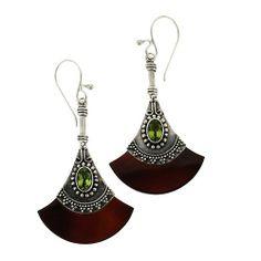 Amazon.com: Peridot Deco Fan Earrings Sterling Silver Balinese: Jewelry