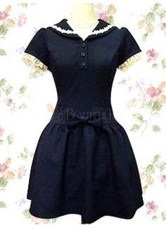 Pretty Dark Navy Cotton Short Sleeves Lace Bow School Lolita Dress