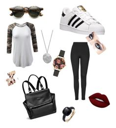 """""""casual look"""" by emil-crvic ❤ liked on Polyvore featuring adidas, Topshop, Givenchy, Olivia Burton, Lime Crime, Karen Kane and Pomellato"""