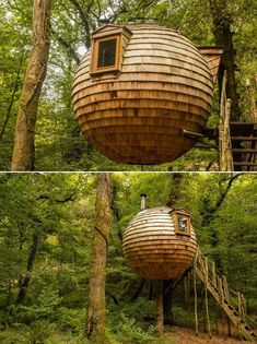 Suspended between two trees about 3m above the ground using strong cables, this spherical, cedar-clad treehouse pod in Cornwall, United Kingdom is one of the most unique treehouses to look out for across the world. This ball-shaped vacation cabin, named the Lost Meadow Treepod is designed to leave minimum impact on the trees while holding up the overall weight. Two Trees, Treehouses, Another World, Tree Branches, Cornwall, Mother Nature, United Kingdom, Around The Worlds, Lost