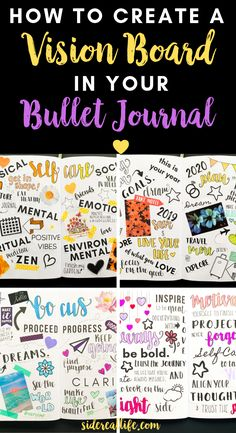 How To Make A Vision Board In Your Bullet Journal – Sidereal Life - - How to make a vision board in your bullet journal! Create a reminder of your goals and aspirations by having a vision board in your daily bullet journal. Bullet Journal Vision Board, Daily Bullet Journal, Bullet Journal Ideas Pages, Bullet Journal Layout, Bullet Journal Inspiration, Vision Journal Ideas, Journal Art, Bullet Journals, Bujo