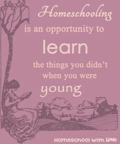 Homeschooling is an opportunity to learn the things you didn't when you were young.