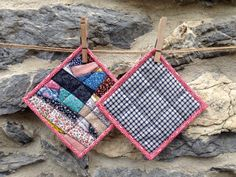 Square Crazy Patch Pot Holders / Hot Pads by zoedawn on Etsy