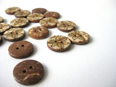 New coconut shell buttons in my supplies shop!  coconut shell button painted brown yellow flower 2 by SilksByUmf, $2.50