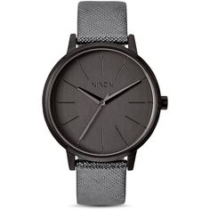 Nixon Kensington Leather Strap Watch, 37mm ($125) ❤ liked on Polyvore featuring jewelry, watches, grey, nixon wrist watch, gray watches, metallic jewelry, grey watches i nixon jewelry