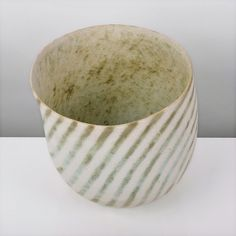 Leaning Vessel, circa Stoneware, matt white glaze with green concentric rings running diagonally across the body, emphasising the softly asym. Ceramic Bowls, Stoneware, John Ward, Pottery Marks, Modern Ceramics, Ceramic Artists, Clay, Tableware, Surface