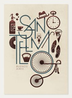 Illustration by Jorge Lawerta about Buenos Aires. Type Posters, Graphic Design Posters, Graphic Design Typography, Graphic Design Illustration, Graphic Design Inspiration, Typography Served, Cool Typography, Bike Poster, Poster S
