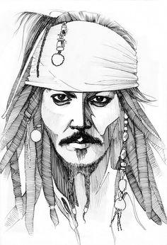 Jack Sparrow, Captain Jack Sparrow by Freaky-Vitta on DeviantArt Jack Sparrow Dibujo, Jack Sparrow Drawing, Sparrow Art, Portrait Sketches, Art Drawings Sketches Simple, Pencil Art Drawings, Cool Drawings, Avengers Drawings, Joker Drawings