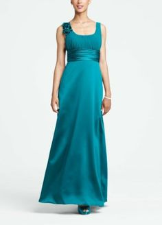 Amazon.com: David's Bridal Bridesmaid Dresses Elegant Satin and Chiffon Ball Gown Style F14050: Clothing