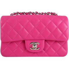 Pre-Owned Chanel Hot Pink Fuchsia Lambskin Mini Flap Crossbody found on Polyvore