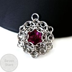 Fuchsia Chainmaille Reactor Pendant Pink Swarovski by rosiethemage
