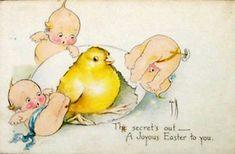 Easter Kewpies by Rose O'Neill (1874-1944), postcard illustrator