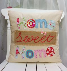 Home Sweet Home pillow Cushion Cover Fabric Handmade Applique Linen Cath Kidston & Other use the next pillow as other side!