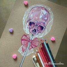 "Prismacolor pencils on Strathmore paper ✏️ By Kathleen Sanders #skull#lollipop#candy#kathleensanders#instartpics"""