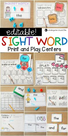Editable Sight Word Games and Centers - The Kindergarten Connection