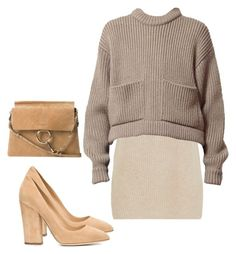 """chlo"" by theliatevi ❤ liked on Polyvore featuring Sergio Rossi, The Row and Chloé"