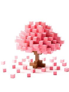 Pink sugar cube tree Wooden toys Imagination pink tree